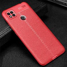 Custodia Silicone Morbida In Pelle Cover per Xiaomi Redmi 9C Rosso