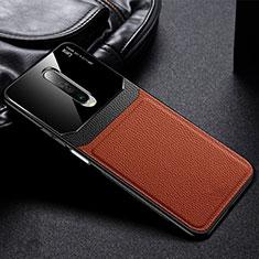 Custodia Silicone Morbida In Pelle Cover per Xiaomi Redmi K30 5G Marrone