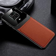 Custodia Silicone Morbida In Pelle Cover per Xiaomi Redmi Note 9 Pro Marrone