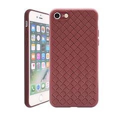 Custodia Silicone Morbida In Pelle Cover S01 per Apple iPhone 7 Marrone