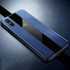 Custodia Silicone Morbida In Pelle Cover S01 per Huawei Enjoy 10e Blu