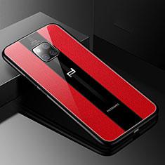 Custodia Silicone Morbida In Pelle Cover S01 per Huawei Mate 20 RS Rosso