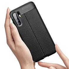 Custodia Silicone Morbida In Pelle Cover S01 per Huawei P30 Pro Nero