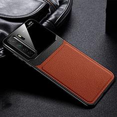 Custodia Silicone Morbida In Pelle Cover S01 per Huawei P40 Lite 5G Marrone
