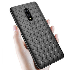 Custodia Silicone Morbida In Pelle Cover S01 per OnePlus 7 Nero