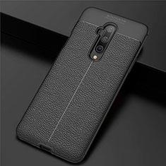 Custodia Silicone Morbida In Pelle Cover S01 per OnePlus 7T Pro Nero