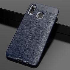 Custodia Silicone Morbida In Pelle Cover S01 per Samsung Galaxy A30 Blu