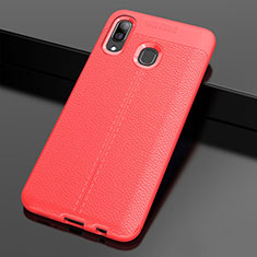 Custodia Silicone Morbida In Pelle Cover S01 per Samsung Galaxy A30 Rosso