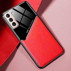Custodia Silicone Morbida In Pelle Cover S01 per Samsung Galaxy S21 5G Rosso