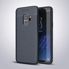 Custodia Silicone Morbida In Pelle Cover S01 per Samsung Galaxy S9 Blu