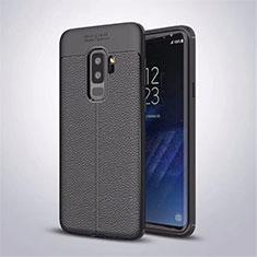 Custodia Silicone Morbida In Pelle Cover S01 per Samsung Galaxy S9 Plus Nero
