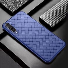 Custodia Silicone Morbida In Pelle Cover S01 per Xiaomi Mi A3 Blu