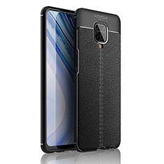 Custodia Silicone Morbida In Pelle Cover S01 per Xiaomi Redmi Note 9 Pro Max Nero