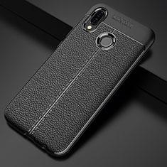 Custodia Silicone Morbida In Pelle Cover S02 per Huawei P20 Lite Nero