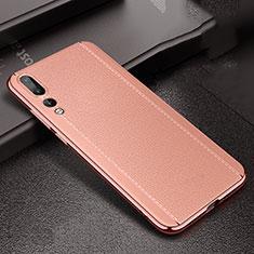 Custodia Silicone Morbida In Pelle Cover S02 per Huawei P20 Pro Oro Rosa
