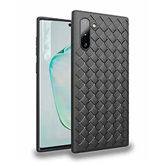 Custodia Silicone Morbida In Pelle Cover S02 per Samsung Galaxy Note 10 Nero