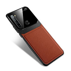Custodia Silicone Morbida In Pelle Cover S02 per Xiaomi Redmi Note 8 Marrone