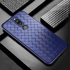 Custodia Silicone Morbida In Pelle Cover S04 per Huawei Mate 10 Lite Blu