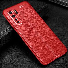 Custodia Silicone Morbida In Pelle Cover S04 per Huawei P40 Lite 5G Rosso