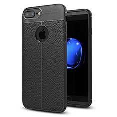 Custodia Silicone Morbida In Pelle Cover S05 per Apple iPhone 7 Plus Nero
