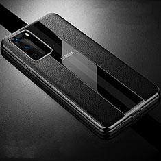 Custodia Silicone Morbida In Pelle Cover S06 per Huawei P40 Pro Nero