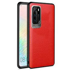 Custodia Silicone Morbida In Pelle Cover S08 per Huawei P40 Rosso