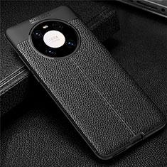 Custodia Silicone Morbida In Pelle Cover U01 per Huawei Mate 40 Pro Nero