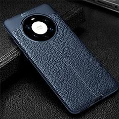 Custodia Silicone Morbida In Pelle Cover U01 per Huawei Mate 40 Pro+ Plus Blu