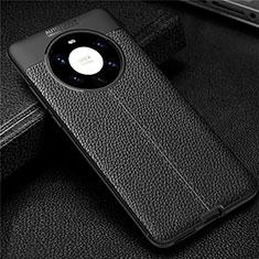 Custodia Silicone Morbida In Pelle Cover U01 per Huawei Mate 40 Pro+ Plus Nero