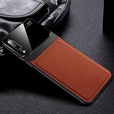 Custodia Silicone Morbida In Pelle Cover Z01 per Samsung Galaxy A70 Marrone