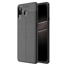 Custodia Silicone Morbida In Pelle K01 per Samsung Galaxy A8 Star Nero