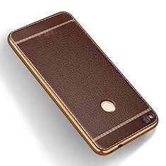 Custodia Silicone Morbida In Pelle per Huawei Honor 8 Lite Marrone