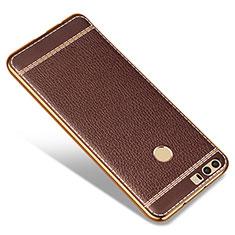 Custodia Silicone Morbida In Pelle per Huawei Honor 8 Marrone