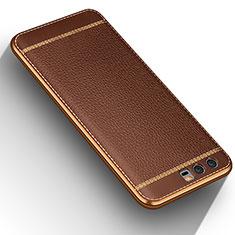 Custodia Silicone Morbida In Pelle per Huawei Honor 9 Premium Marrone