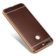 Custodia Silicone Morbida In Pelle per Huawei Honor V9 Marrone