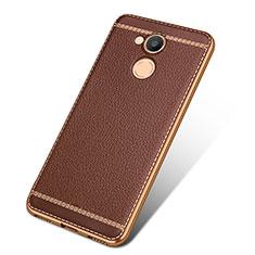 Custodia Silicone Morbida In Pelle per Huawei Honor V9 Play Marrone
