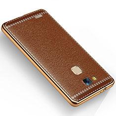 Custodia Silicone Morbida In Pelle per Huawei Mate 7 Marrone