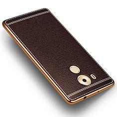 Custodia Silicone Morbida In Pelle per Huawei Mate 8 Marrone