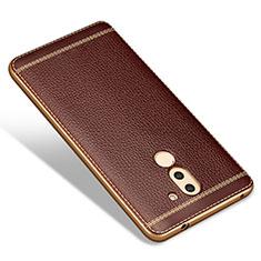 Custodia Silicone Morbida In Pelle per Huawei Mate 9 Lite Marrone