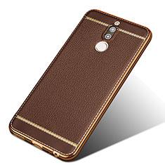 Custodia Silicone Morbida In Pelle per Huawei Nova 2i Marrone