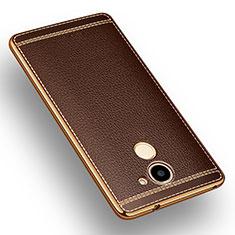 Custodia Silicone Morbida In Pelle per Huawei Y7 Prime Marrone