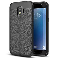 Custodia Silicone Morbida In Pelle per Samsung Galaxy J2 Pro (2018) J250F Nero
