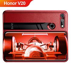 Custodia Silicone Morbida In Pelle Q01 per Huawei Honor V20 Rosso