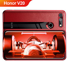 Custodia Silicone Morbida In Pelle Q01 per Huawei Honor View 20 Rosso