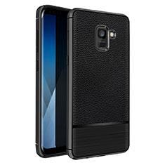 Custodia Silicone Morbida In Pelle Q01 per Samsung Galaxy A5 (2018) A530F Nero