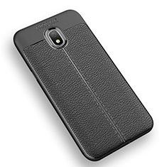 Custodia Silicone Morbida In Pelle Q01 per Samsung Galaxy Amp Prime 3 Nero