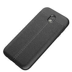 Custodia Silicone Morbida In Pelle Q01 per Samsung Galaxy J5 (2017) SM-J750F Nero