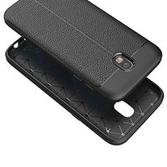 Custodia Silicone Morbida In Pelle Q01 per Samsung Galaxy J7 (2017) Duos J730F Nero