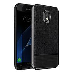 Custodia Silicone Morbida In Pelle Q01 per Samsung Galaxy J7 (2018) J737 Nero