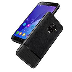 Custodia Silicone Morbida In Pelle Q01 per Samsung Galaxy On6 (2018) J600F J600G Nero